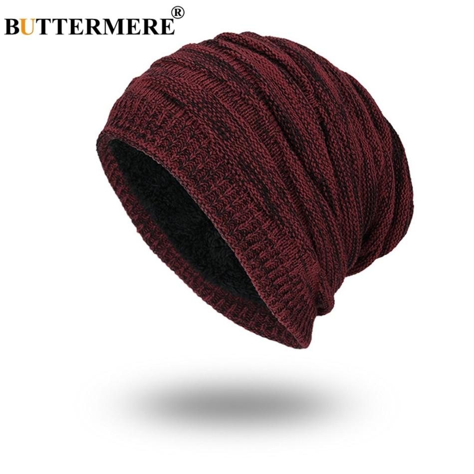BUTTERMERE Winter Skullies Beanies Men Burgundy Knitted Hats Thicker Warm Soft Bonnet Skull Caps Male Fashion Solid Beanie Hat