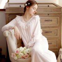 Autumn Winter Vintage Long Nightgowns Women Lace Cotton Nightie Sleepwear Lady Sleepshirts Sleep Dress Clothing s1517