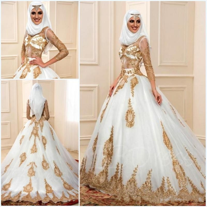 349f135da10 China Bridal Gowns In Dubai Gold Appliques 3 4 sleeves Muslim Wedding Dress  With Hijab India Style african wedding gowns sereia