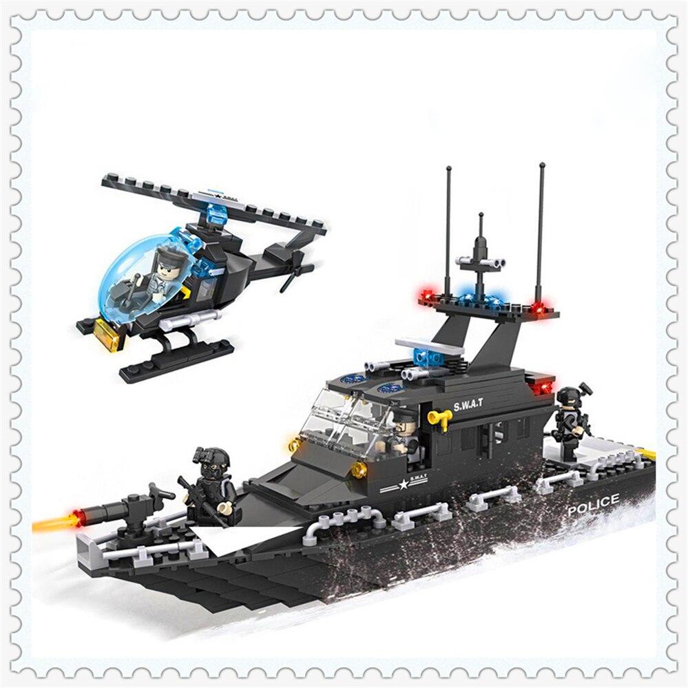 цены 518Pcs SWAT Police Escort Boat Helicopter Building Block Toys Compatible Legoe HSANHE 6511 Figure Brinquedos Gift For Children