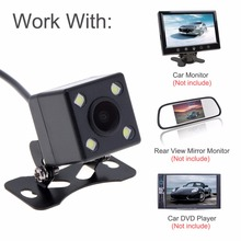 CCD 4 LED Night Vision DC 12V Car Dynamic Reversing Trajectory Rearview Backup Camera Wide Angle with Auto-changeable Parking