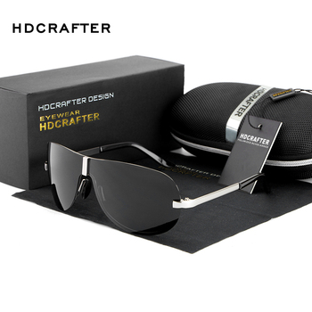HDCRAFTER Rimless Men's Sunglasses Polarized UV400 Lens Driving Sun Glasses Male Eyewears Accessories For Men Shades With Case