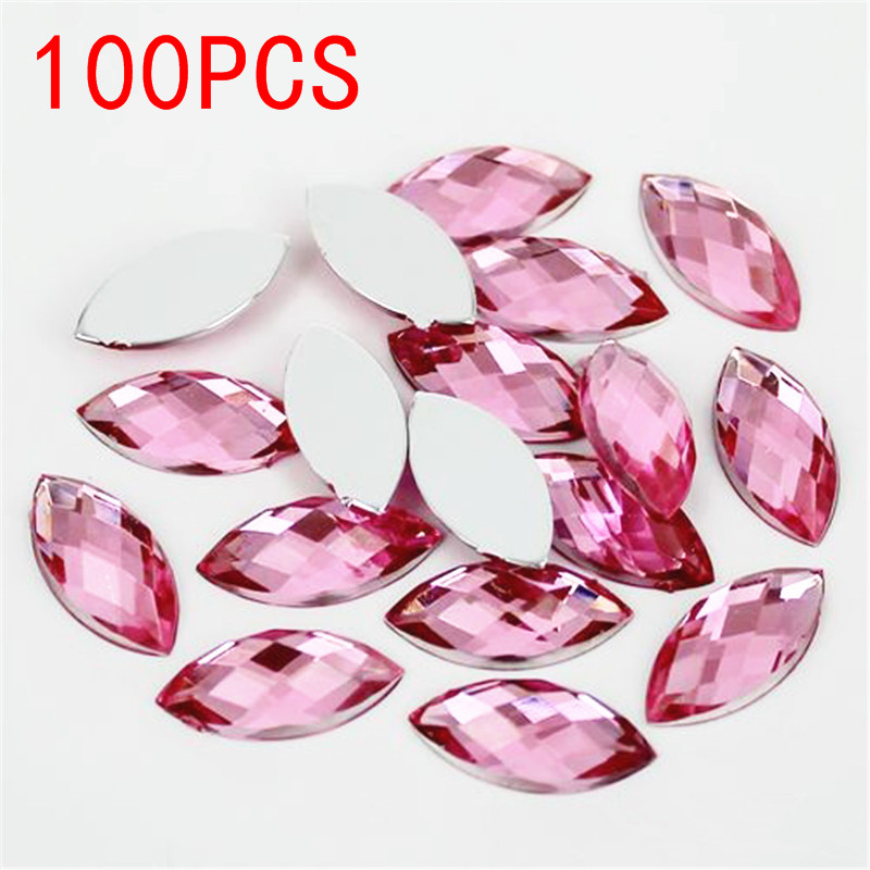 Hot Sale 100Pieces Flat Back Marquise Earth Facets Pink Color Acrylic Horse eye Shape Rhinestone Nail decorative crystal diamond