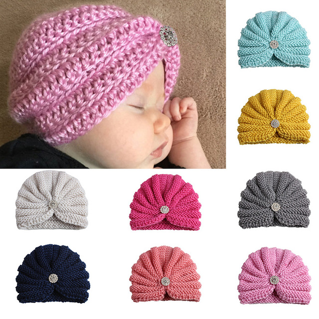Winter New Baby Hat Bonnet Enfant Knitted Baby Girl Hats with Pearls Solid  Color Knitting Baby Muts Beanie Cap photography props 7607452147d