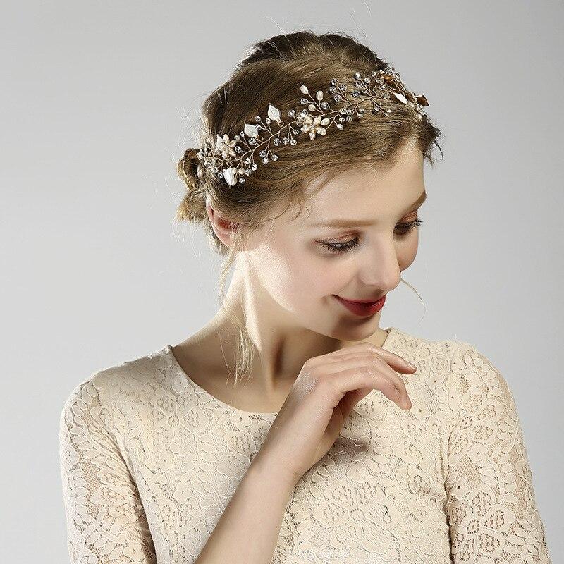 European Hot Bride Jewelry Beautiful Flowers Handmade Beaded Head With Hair Belt Wedding Headdress Hair Accessories Weddings & Events