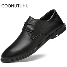 купить 2019 new fashion men's shoes casual genuine leather male classic brown black lace up shoe man waterproof shoes for men hot sale по цене 3582.22 рублей