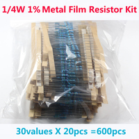 Free Shipping 600 Pcs 30 Kinds Each Value Metal Film Resistor Pack 1 4W 1 Resistor