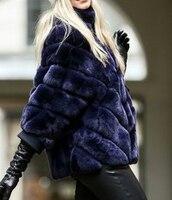 Настоящее Рекс кролика пальто с мехом короткая куртка в полоску Большие размеры с рукавами летучая мышь Бесплатная доставка меховые зимни