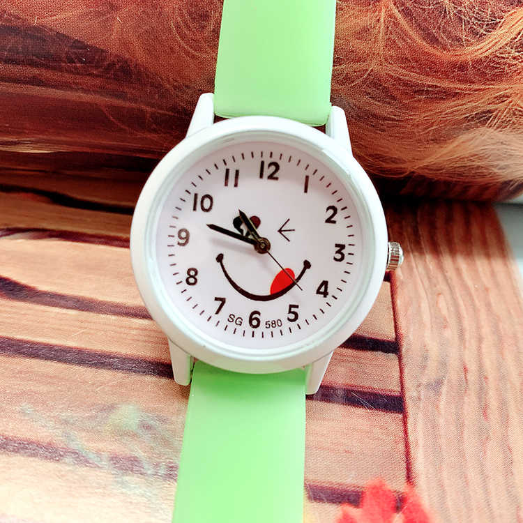 Cute Colorful Girls Sport Watch Jelly Band Smile Face Quartz Watch B070