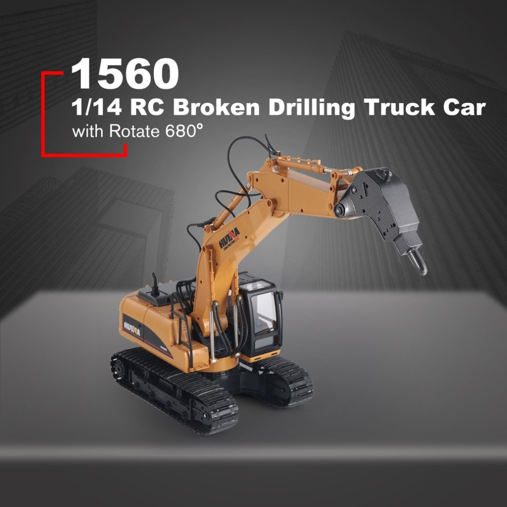 HUINA TOYS 1560 1/14 16CH Alloy RC Broken Drilling Truck Engineering Construction Car Vehicle with Sound Light Rotate 680 RTRHUINA TOYS 1560 1/14 16CH Alloy RC Broken Drilling Truck Engineering Construction Car Vehicle with Sound Light Rotate 680 RTR
