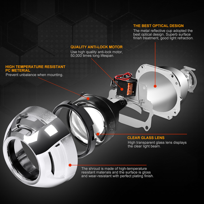 RACBOX 2 Pcs 2 5 Inch Universal Bi xenon HID Projector Lens Silver Shroud H1 Xenon LED Bulb H4 H7 Motorcycle Car Headlight Lens in Car Light Accessories from Automobiles Motorcycles