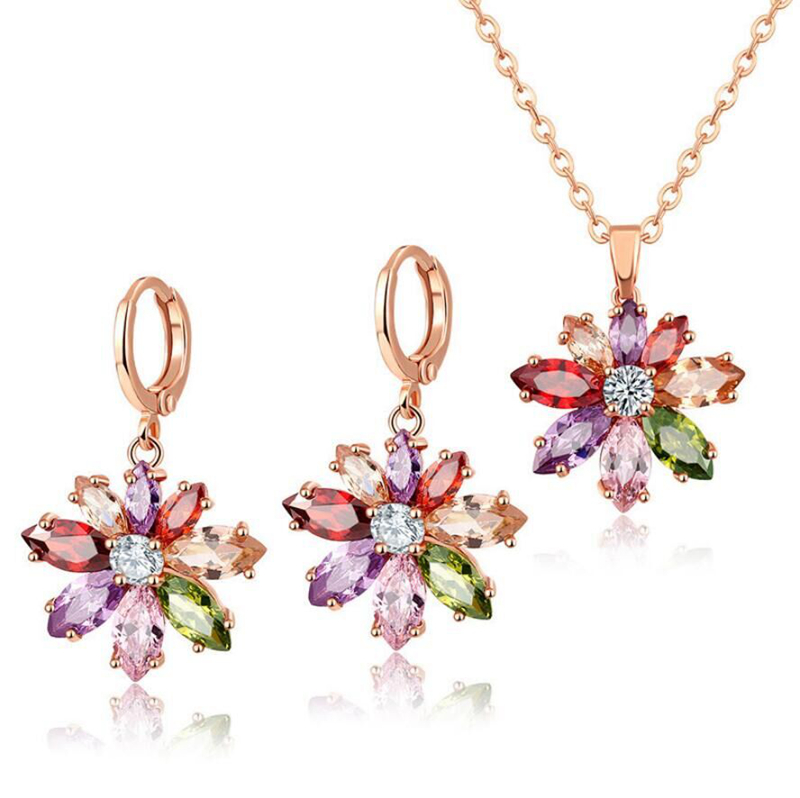 Wedding Jewelry Set Rainbow Topaz Peridot Morganite Onyx Silver Danlge Earrings