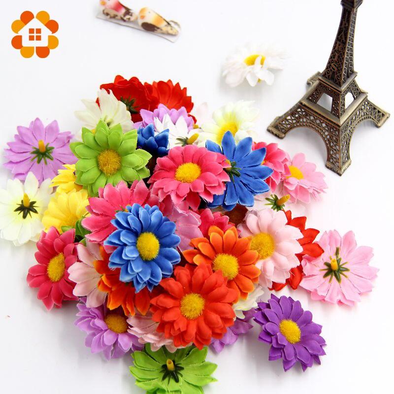 50pcs Small Silk Sunflower Handmake Artificial Flower