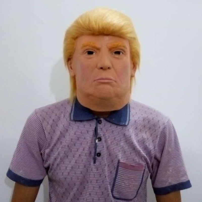 Горячая Распродажа, настоящий костюм знаменитостей на Хэллоуин, латексная маска Трампа нового Дональда