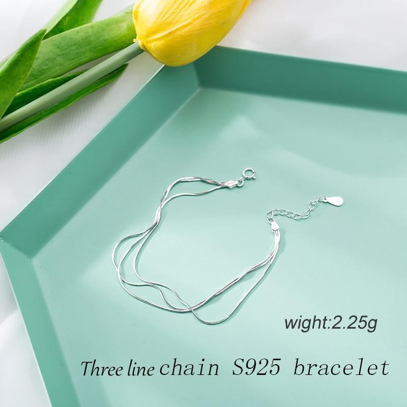 HTB1I.fToSBYBeNjy0Feq6znmFXak 2018 New Simple Multilayer Tassel Snake chain Bracelet Genuine 100% 925 Sterling Silver jewelry for women chrismas gift