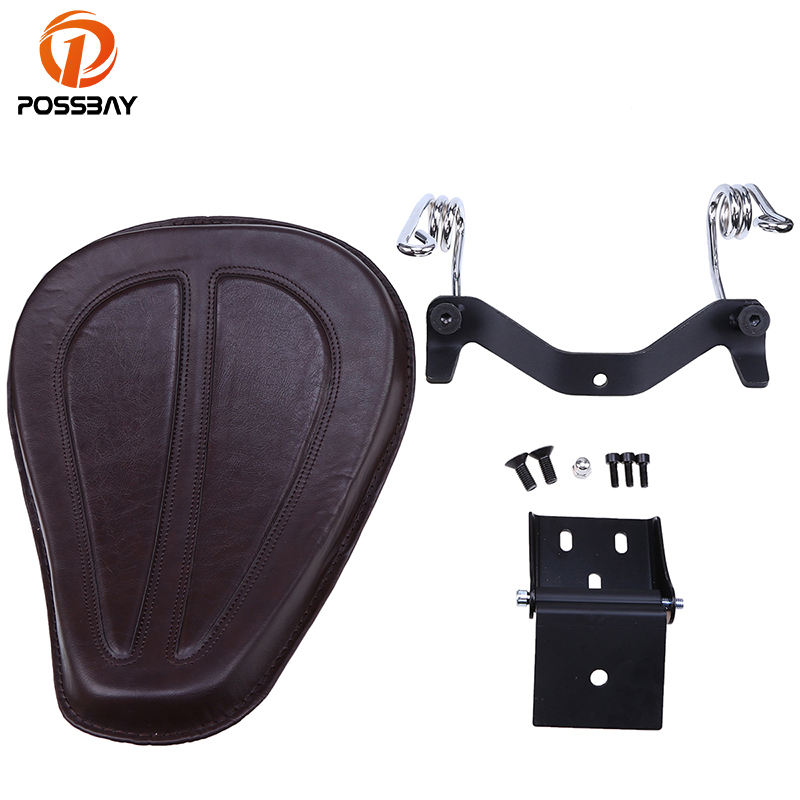 POSSBAY PU Leather Motorcycle Seats Cover Bracket&Spring Cafe Racer for Harley XL1200/883/48 09-15 Chopper Bobber Seats Custom