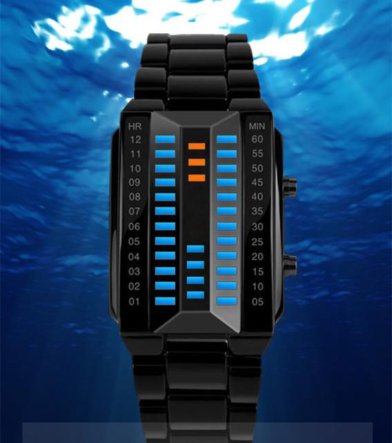 Diseñador de la marca del Rectángulo Relojes LED Vida de Acero Inoxidable Resistente Al Agua Ocasional Reloj de Pulsera Digital Deportes Reloj Relojes NW3450