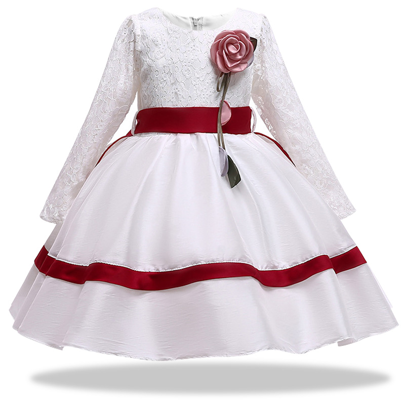 811407191c6f Spring Autumn Europe America Children s Evening Dresses Girls Long Sleeve  Openwork Lace Girls Baby Princess Dress Kids Clothes