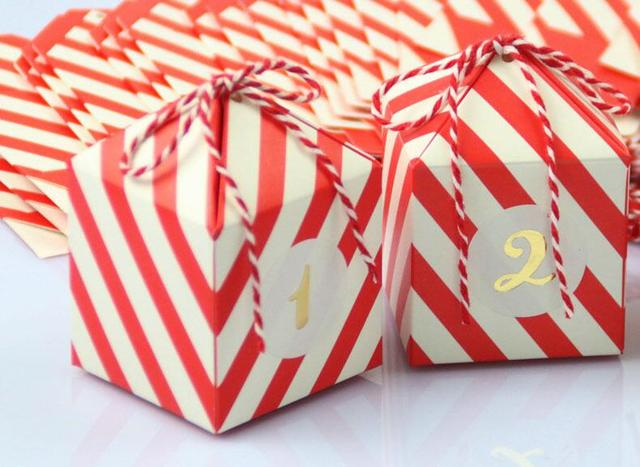 New Red Stripe Candy Box Wedding Favors Supplies Baby Shown Birthday