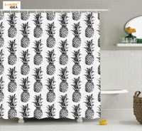 HUGSIDEA Creative Design Bath Shower Curtain Fruit Pineapple Polyester Fabric Bathroom Curtain Thickened Moldproof Waterproof