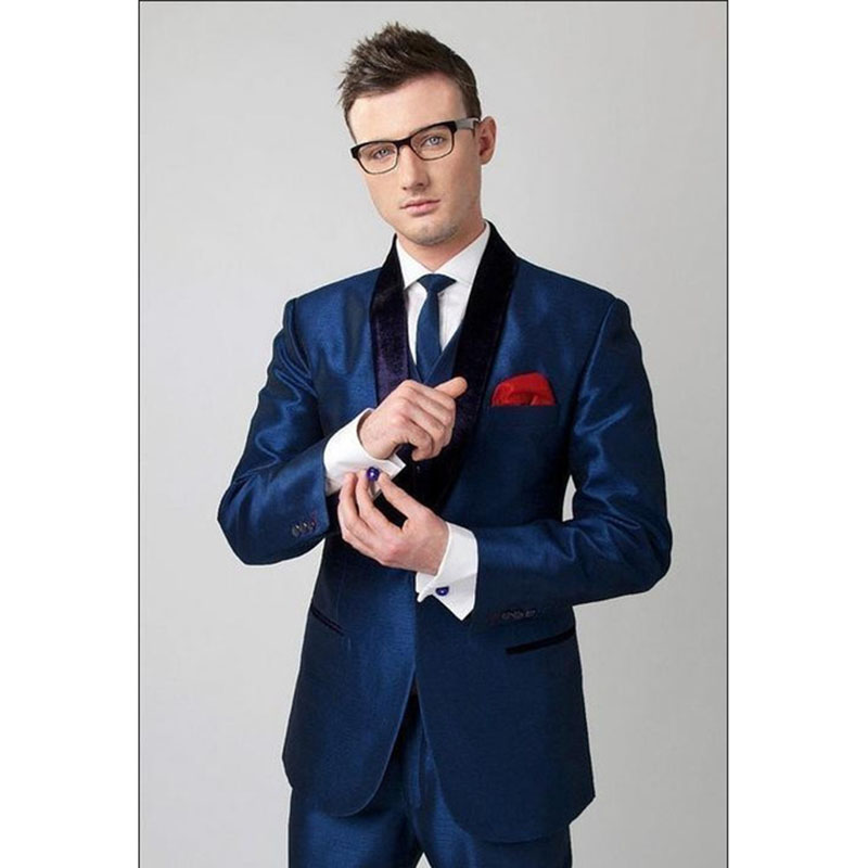 New Arrival 2017 Young Mens Suits Handmade Shinny Dark Blue Men Suit Blazer With Pants Black Satin Collar Marrige Homme Ternos
