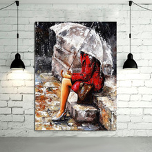 Free Shipping Handpainted Best Quality Modern Abstract Oil painting Lady Portraits Art Pictures Wall StickersPictures