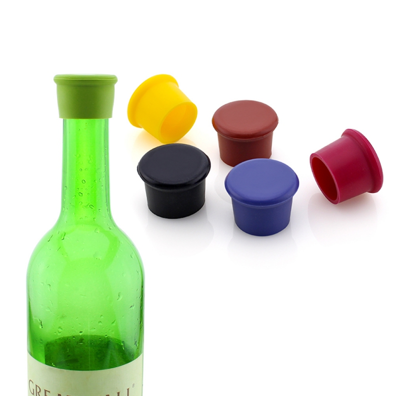 1Pc Vacuum Wine Bottle Stopper Cap Soft Sealed Storage Wine Round Bottle Plug Liquor Flow Stopper Pour Cap Reusable|Wine Bottle Covers| |  - title=
