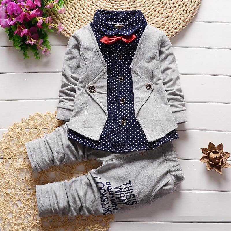 DIIMUU 2PC Toddler Boys Clothing Kids Child Boys Clothes Children Dot Fake Two Piece Bowknot Tie Coat Wedding Formal Party Suits