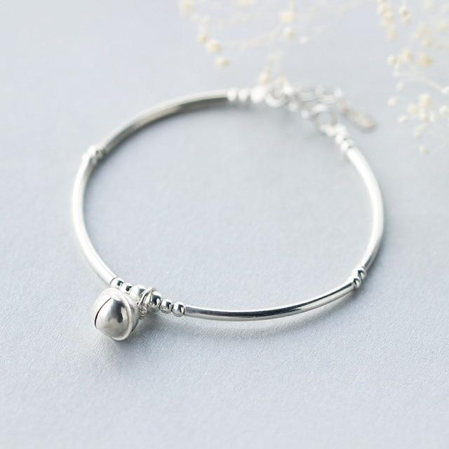 Real. 925 Sterling Silver Jewelry Jingle Bell Thin Bangle Bracelet ...