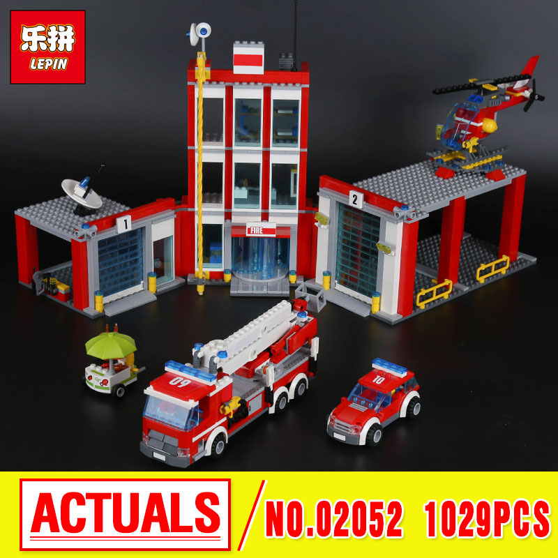 Lepin 02052  City Series The Fire Station Set 1029Pcs Genuine 60110 Building Blocks Bricks Educational Toys Christmas Gift Model the mortal instruments 6 city of heavenly fire