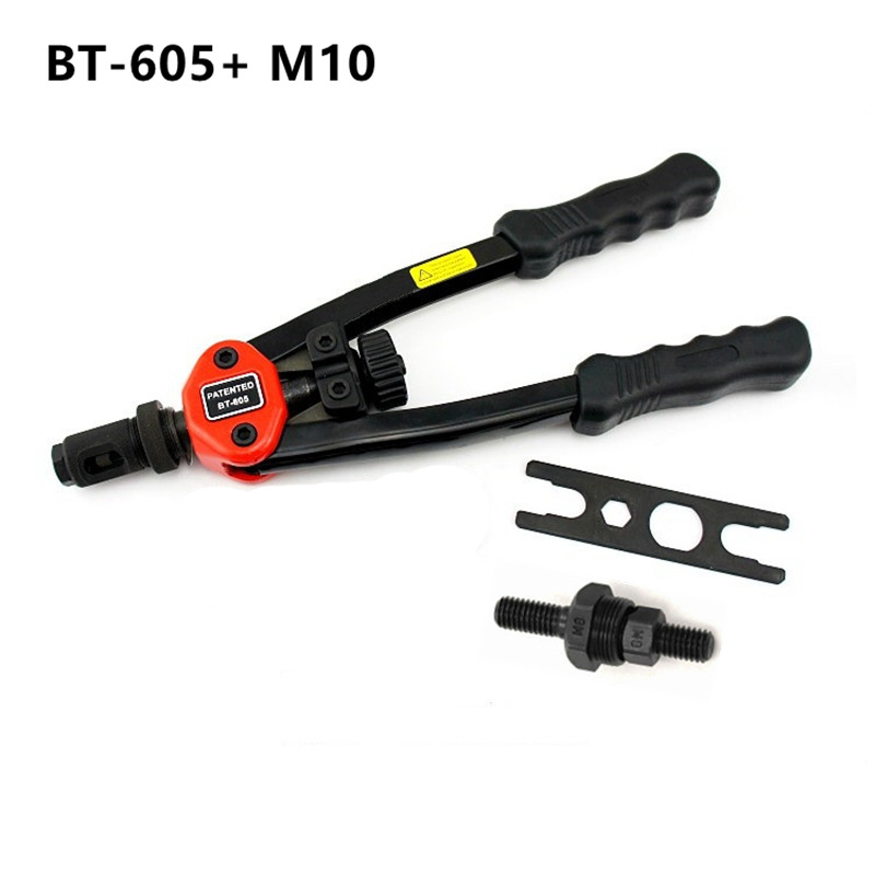 free shipping manual rivet gun hand riveter pull rivet nut riveting tools with one die of M10 BT-605 carton package high quality 440mm 17 inch hand riveter pull rivet nut riveting tools with one die of m3 free shipping bt 604 auto remove nut