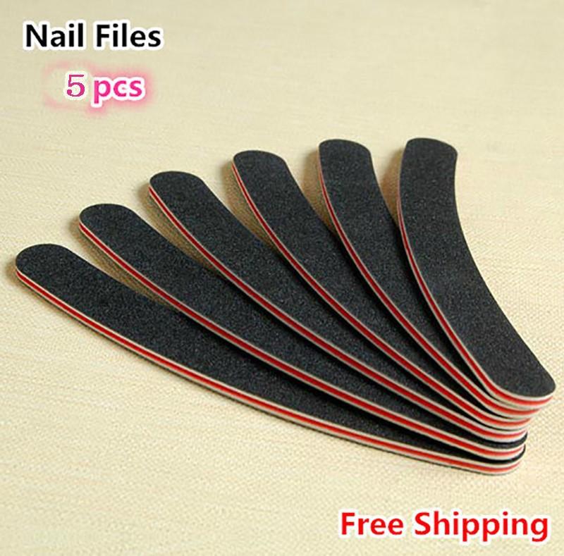 Free-Shipping-5pcs-Professional-Nail-Files-Buffer-Buffing-Slim-Crescent-Grit-Sandpaper-100-180-Nail-Tools