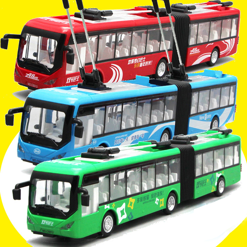 34cm Double Track Trolley Bus Model Car Toys Voice Alloy Acoustic Light Pull Back Diecast Toy Car Tram Wheels Model for Children