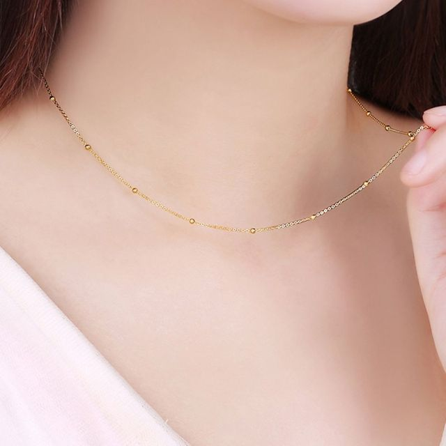 Solid 18k Yellow Gold Necklace Lucky Smooth Bead With O Chain Necklace 16.5inch 5