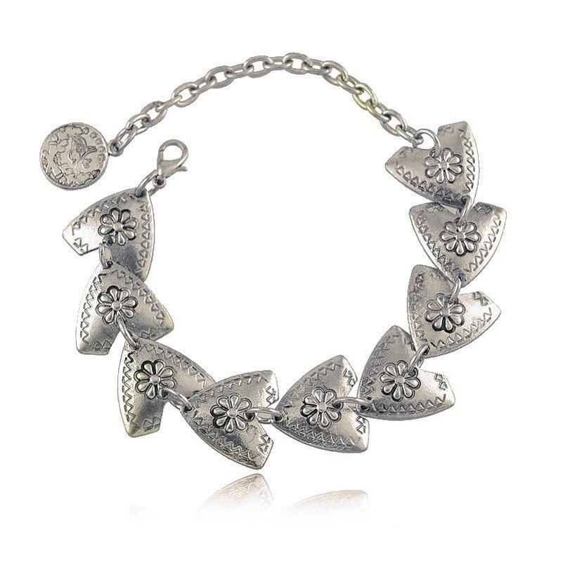 Bohemian Antalya Carved Flower Triangle Coin Bracelet Gypsy Boho Coachella Festival Turkish Jewelry Sinaya Tribal Ethnic Jewelry