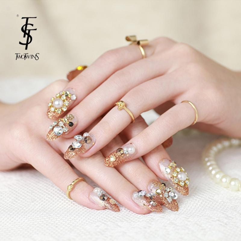 new fashion luxury diamond fake nails extension gold false nails tips shining powder 3d design french bride nails 24pcs/pack-in False Nails from ...