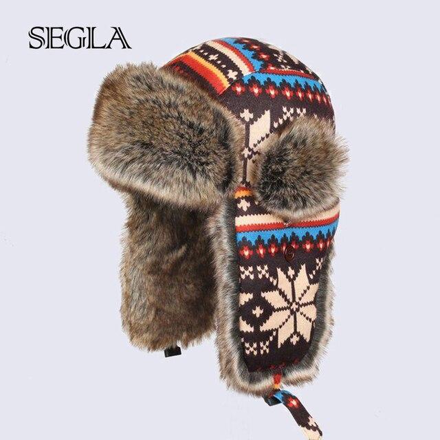 SEGLA Winter Ski Russian Trapper Hats Faux Rabbit Fur Cycling Bomber Hat Wool Snowflakes Russian Warm Plush Ski Cap
