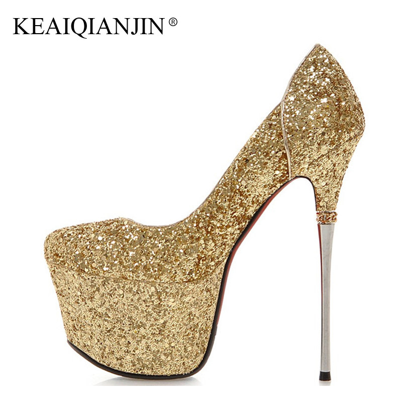 KEAIQIANJIN Woman 16 CM Ultra High Heels Shoes Plus Size 33 - 43 Party Wedding Sexy Pumps White Golden Stiletto Silver Pumps cocoafoal woman green high heels shoes plus size 33 43 sexy stiletto red wedding shoes genuine leather pointed toe pumps 2018