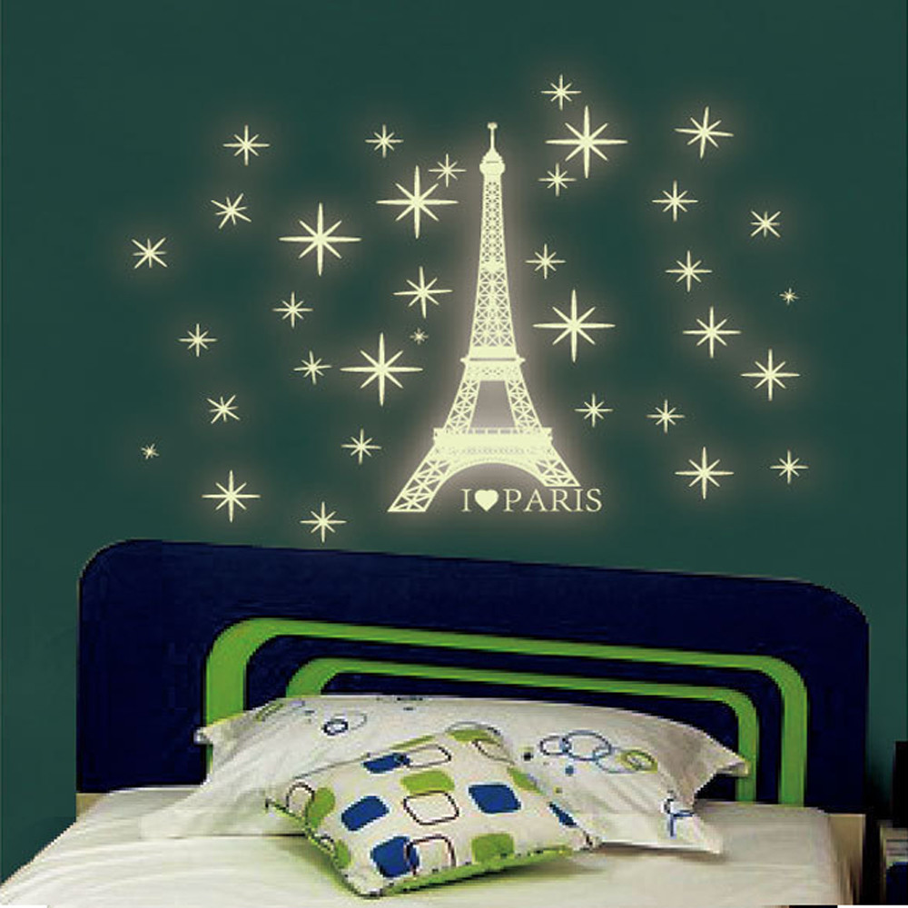 Wall stickers glowing - Anime Letter Paris Tower Pattern A Set Kids Bedroom Fluorescent Glowing In The Dark Stars Love