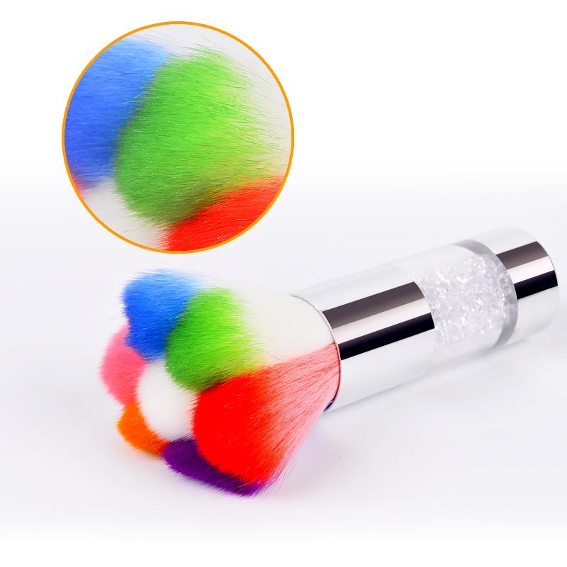 1 stück bunte nagel staubbürsten acryl & uv nagel gel pulver nailart staubentferner pinsel reiniger strass make-up foundation tool