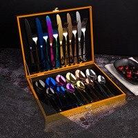 24pcs KuBac Hommi Luxury Golden Stainless Steel Steak Knife Fork Set Gold Rainbow black Cutlery Set With Luxury Wood Gift Box