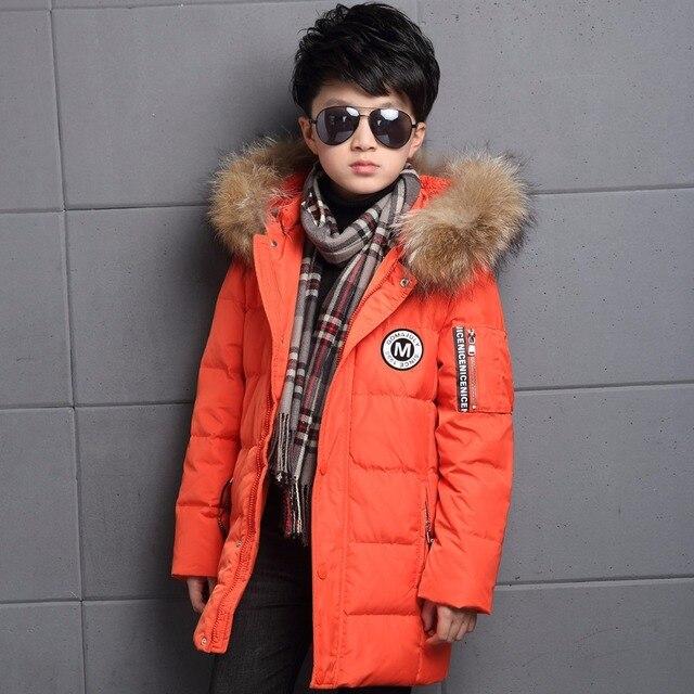 Детские зимние куртки для мальчиков с меховым капюшоном, белые пуховики на утином пуху, плотная теплая верхняя одежда с капюшоном, длинное Детское пальто