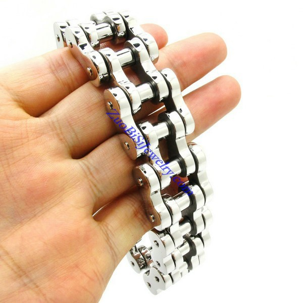 width 17.50mm huge&heavy fashion links chain bracelet 316L stainless steel motorcycle bike bangle men punk biker - Stainless Steel Jewelry Online Store store