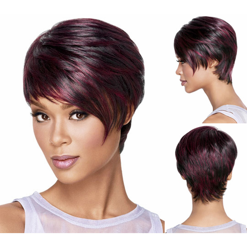 african american hair extensions styles medusa hair products afro pixie cut style wig 7439 | Medusa hair products Red Afro Short pixie cut style wig with bangs straight Synthetic african american