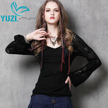 Women Sweater 2017 Yuzi.may New Vintage Cotton Wool Pullovers V-Neck Lantern Sleeve Loose Stretchy Sweaters For Women B9537