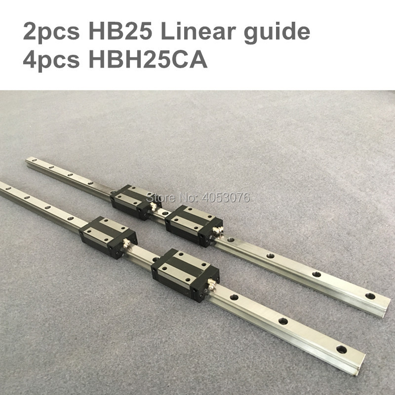 HGR 2 pcs linear guide HB25-L500-750mm Linear rail and 4 pcs HBH25CA linear bearing blocks for CNC parts