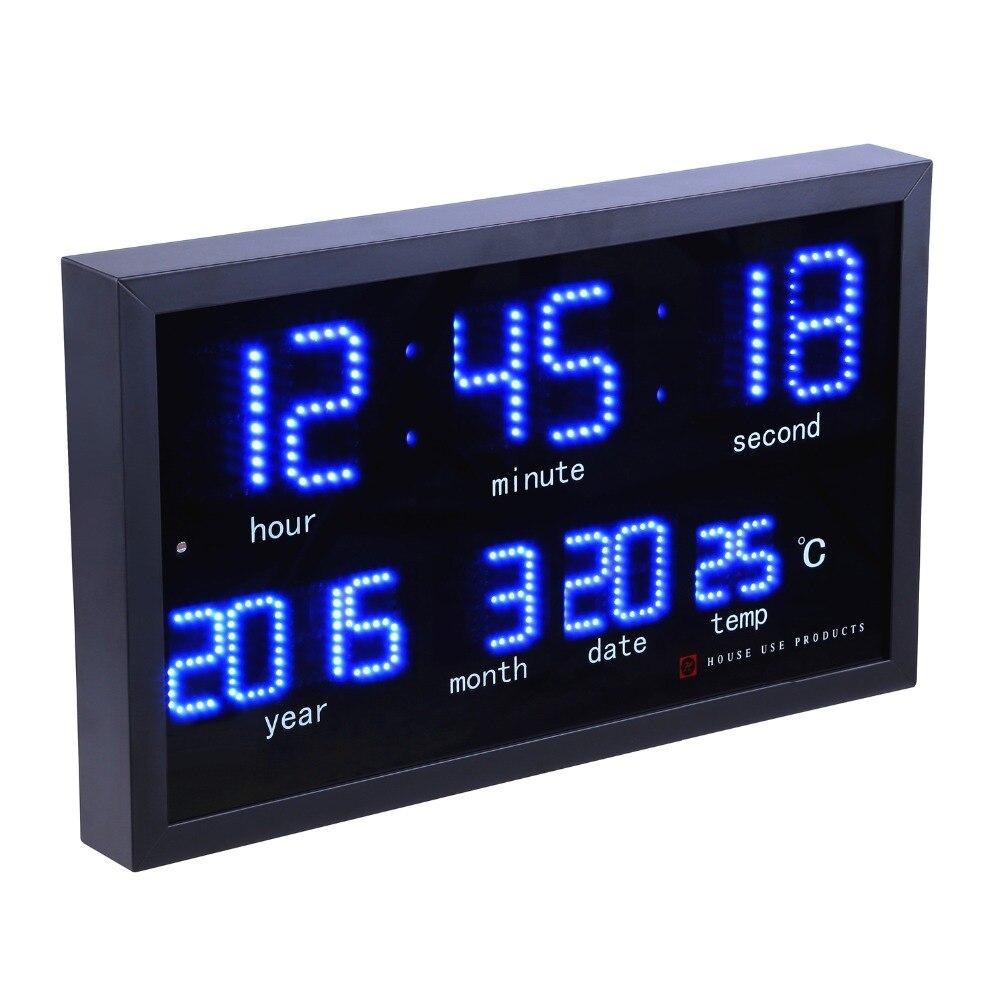 Ev ve Bahçe'ten Duvar Saatleri'de Nokta matris led dijital büyük duvar saati Oturma odası modern dekorasyon elektronik led takvimli saat Ev termometre saat'da  Grup 1
