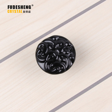 40mm*30mm Crystal Glass Black Rhinestone Shape Cabinet Knob Drawer Pull Handle Kitchen Sale SJ-5016