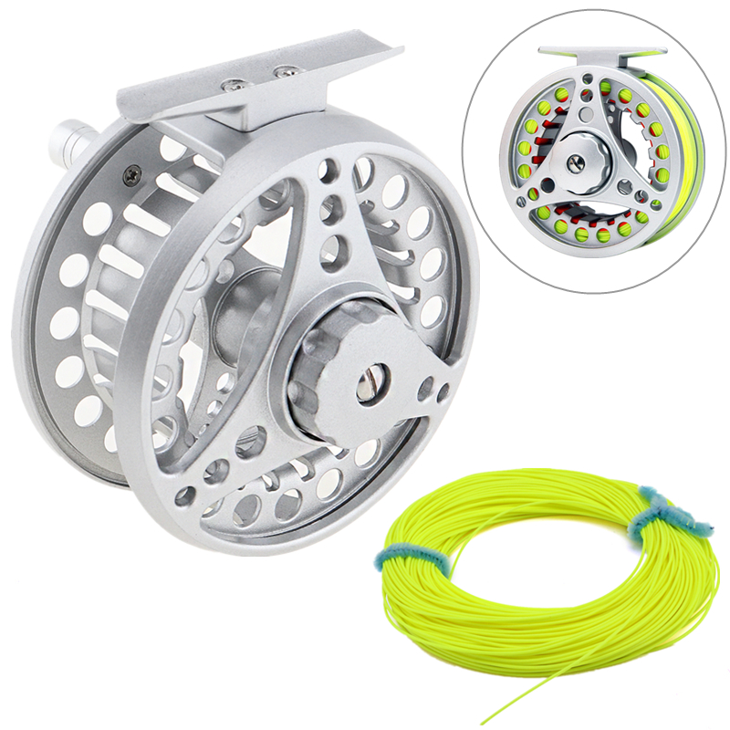 7/8 Large Former Ice Fishing Reel + 100ft 30.5m Fly Fishing Line Aluminum Alloy Fly Fishing Reel aluminum alloy fly fishing reel silver 0 30mm 200m