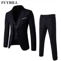 FuyBill New Style Fashion Large Size Men's Business Suit Three Pieces of Suits and Groom Wedding Dress Casual Men's Suit S 6XL